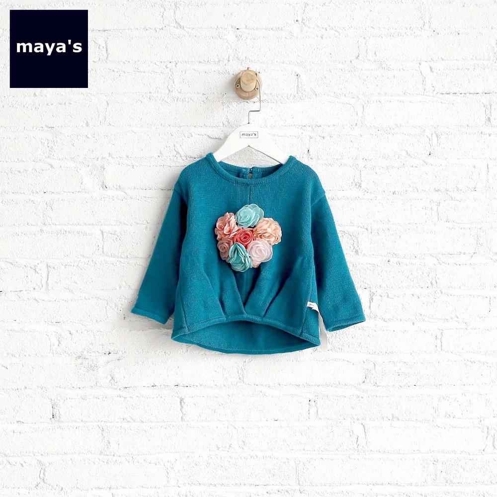 Pullover Hell Mayas Blau Applique Gestrickte Herbst Kinder Pullover Mode Süße Elegante Kinder Tops Trägt Kleinkind Grundlegende Nette Neue Pullover 73035