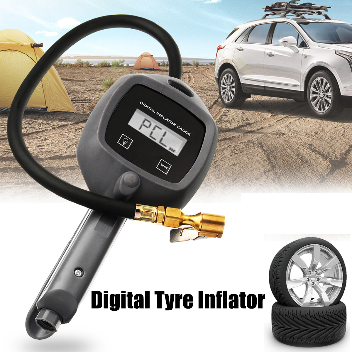 High Precision Car Auto LCD Digital Tire Pressure Duage Meter Inflator PSI 0.5M Hose Tyre Gauges Tester Monitor Barometer air tire tyre inflating inflator tool pressure gauge for car truck motorcycle