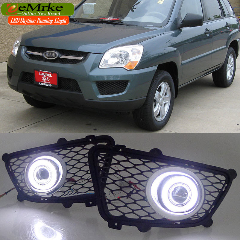 Car Styling LED Daytime Running Lights FOR Kia Sportage 2004-2012 COB Angel Eyes DRL Fog Lamp Halogen Bulbs H11 55W 4300K for lexus rx350 rx450h 2010 2013 car styling led angel eyes drl led fog lights car daytime running light fog lamp with bulbs set
