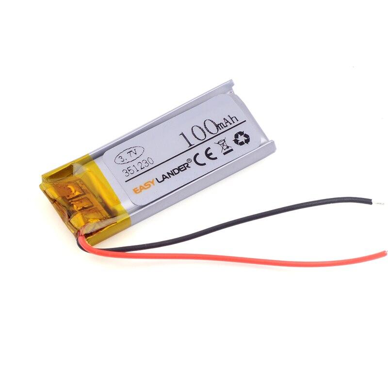351230 3.7V 100mAh Polymer Li-ion Battery For bluetooth headset Bracelet Wrist Watch pen GPS MP3 MP4 Game Player smart watch