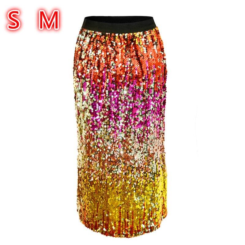 Paillettes Printemps Nouveau Midi Multicolour Jupes Mode Sexy Jupe Style Femmes 2018 Taille Dames Street Crayon Haute Multicolore ZIq5Ewa