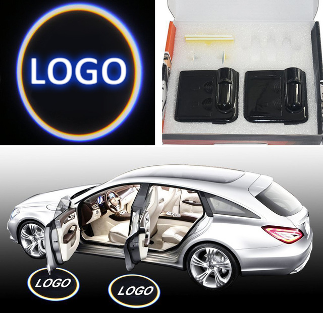 2pcs No Drill Type Wireless Car Door Welcome Light Logo Badge Lights LED Laser Ghost Shadow Projector Lamp for Most Cars