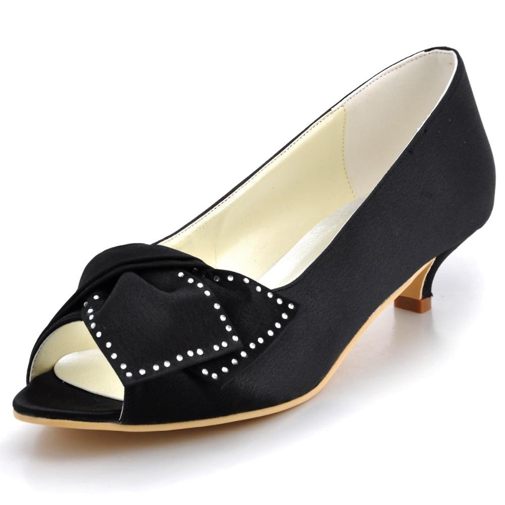 ФОТО EP2022 Black Blue Women Bridal Party Low Heels Prom Pumps Peep Toe Comfortable Rhinestone Bow Satin Wedding Bride Dress Shoes