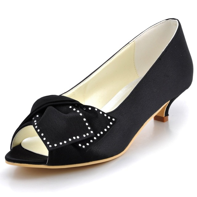 Ep2022 Black Blue Women Bridal Party Low Heels Prom Pumps P Toe Comfortable Rhinestone Bow Satin