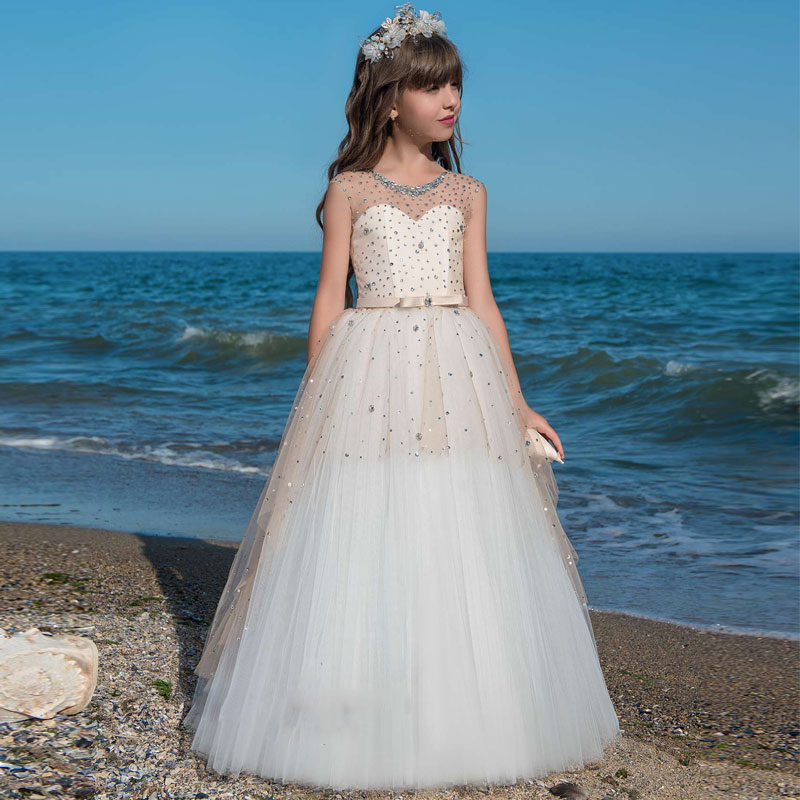 Luxurious Rhinestones Beaded Lace Up Flower Girl Dress Sheer Neckline Kids Lace Tulle Ball Gowns Little Girls Pageant Dresses gorgeous lace beading sequins sleeveless flower girl dress champagne lace up keyhole back kids tulle pageant ball gowns for prom