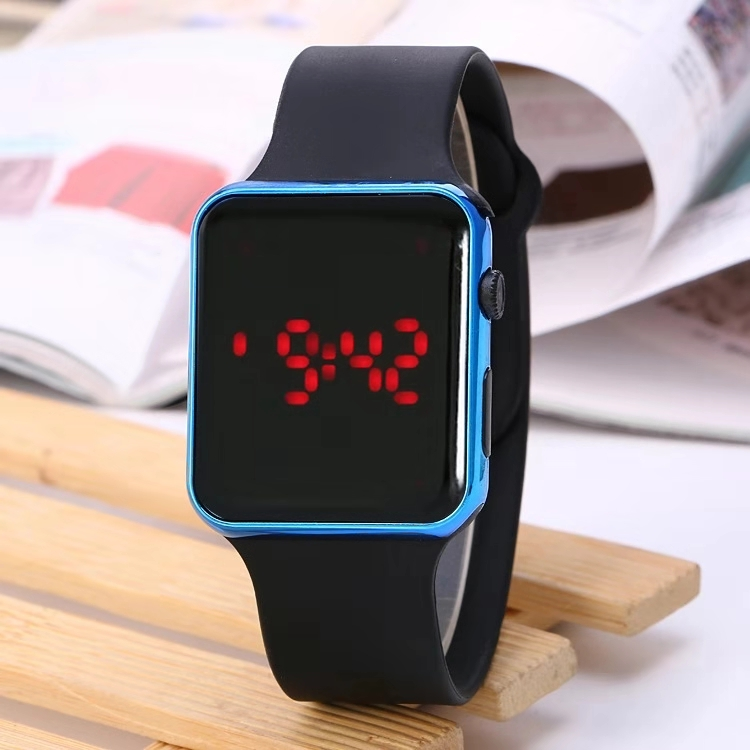 New Plating Fashion Apple Children's Watch Square LED Electronic Watch Silicone Student Watch