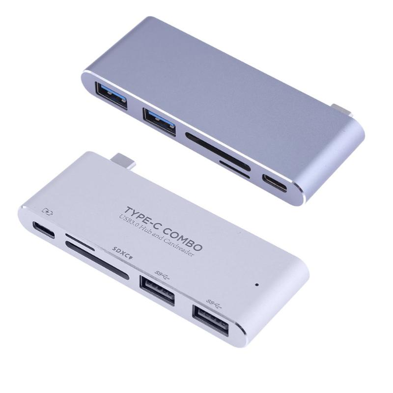 ALLOYSEED Multifonction Lecteur de Carte 5 en 1 Type-C Hub USB3.1 Combo Lecteur de Carte Adaptateur De Charge pour Ordinateur Portable Macbook