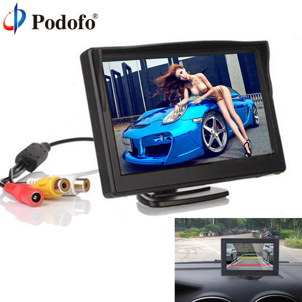 Podofo 4.3 TFT LCD Display Car Monitor Car Reverse Parking monitor with 2 video input Auto Parking Rearview Backup Camera CCD
