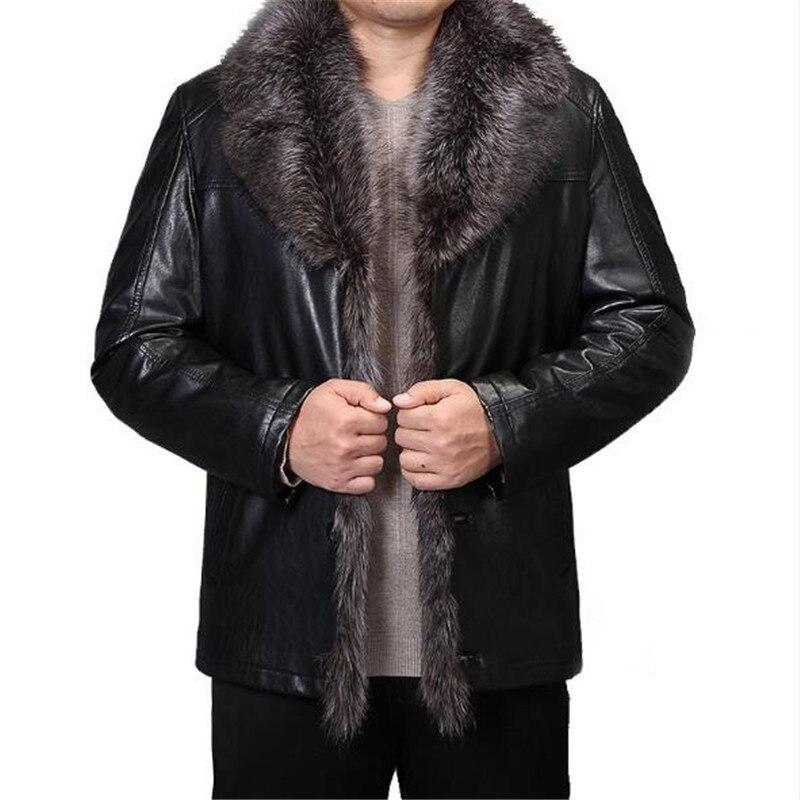 2019 Новое роскошное Мужское пальто для бизнеса и отдыха с мехом в одном кожаном пальто модное утепленное теплое натуральное пальто среднего