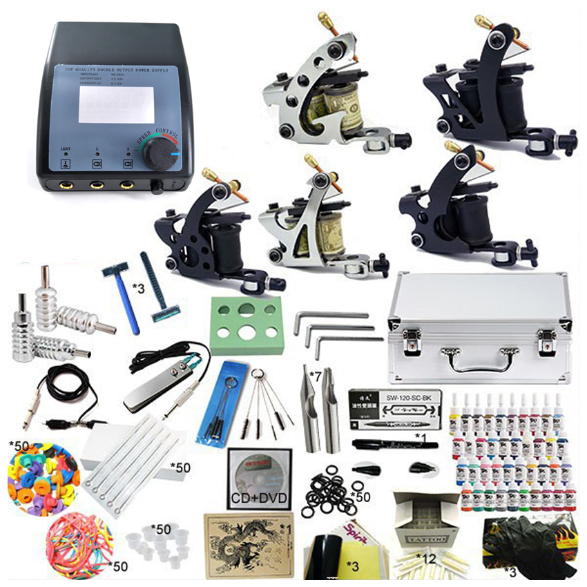 Professional Complete Tattoo Kit 5 Guns Rotary Machine Equipment sets +Ink +Power Supply +Needle + CD for Beginners Body Art #T korean made easy for beginners cd