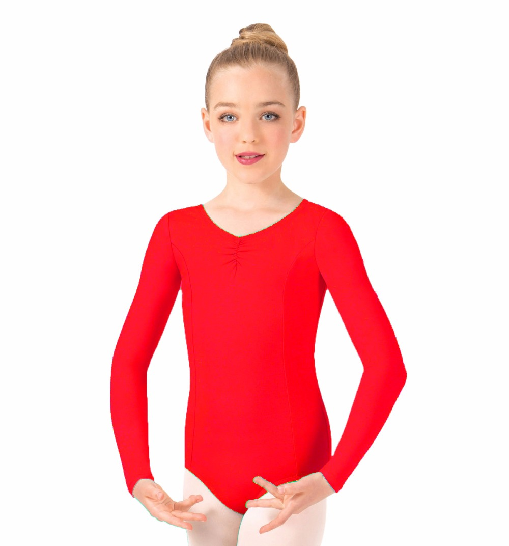 LZCMsoft Kids Girls Pinch Front Long Sleeved Leotards Toddler Ballet Class Dance Leotards Ballerina Dancer's Costumes Infantil