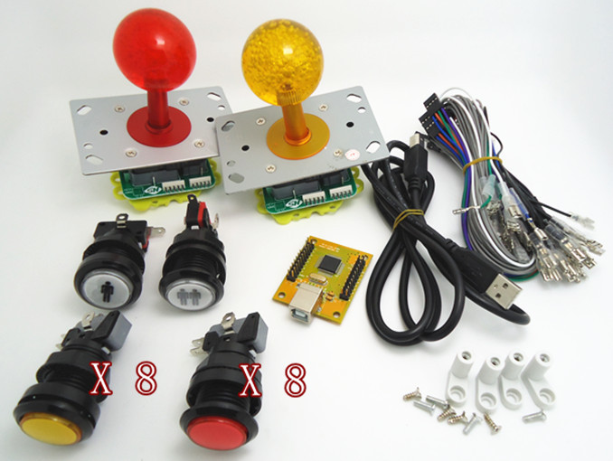 1 kit for Arcade to USB controller 2 player MAME Multicade Keyboard Encoder with lighted button