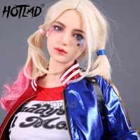 Clown Lady Anime Sex Doll Harley Cosplay Lifelike Silicone Sex Doll Big Boob with Metal Skeleton Anal and Pussy Sex Doll for Men