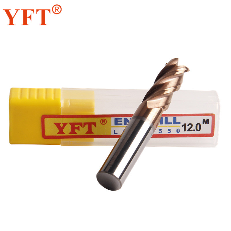 YFT 1PC 4-blade Carbide End Mill Diameter 12mm Router Bit Set End Mills Tungsten Steel Milling Cutter HRC 55 CNC Tools