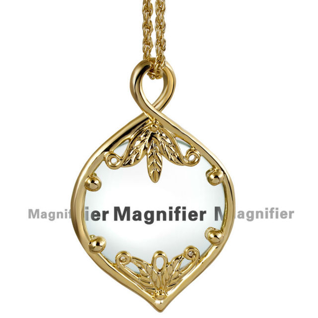 New Wholesale Fashion Decorative Pendant Magnifier with Rhodium Chain Leaf Magnifying Glass Pendant Sweater chain Long necklace