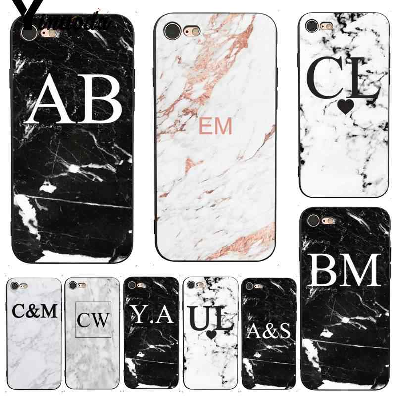 Yinuoda For iphone 7 6 X Case MONOGRAM MARBLE INITIALS Perfect DIY Phone Case Cover for iPhone 7 X 6 6S 8 Plus X 5 XS XR XSMAX