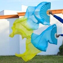 Высокая настоящие шелковые вуали 1 пара ручной работы для женщин качественный Шелковый Танец живота танцевальный веер желтый 180*90 см