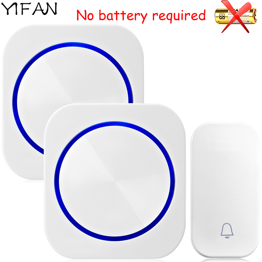 YIFAN Self-powered Wireless Doorbell no battery Waterproof 150M Remote EU Plug Door Bell Chime 1 2 button 1 2 receiver 58 music cacazi dc wireless doorbell need battery 150m remote waterproof gate door bell chime ring wireless 36 tunes 1 emitter 2 receiver
