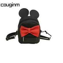 COUGINM New Mini Backpack Female Bag Quality PU Leather Women Backpacks Korean Version Of Cute Ears Sweet Bowknot College Style