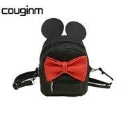 New Mini Backpack Female Bag Quality PU Leather Women Backpacks Korean Version Of Mickey Ears