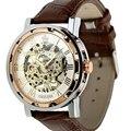 Excelente Qualidade Moda Retro Vintage Aço Inoxidável Esqueleto Mecânico Relógio para o Homem de Ouro Relógio Mecânico Relógios de Pulso