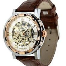 Excellente Qualité De Mode Rétro Vintage En Acier Inoxydable Squelette Montre Mécanique pour Homme Or-Bracelet Mécanique Montres Horloge