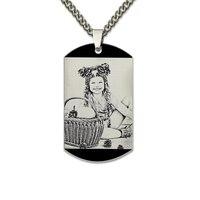 Оптовая выгравированы фото теги Цепочки и ожерелья в черном Цвет dog tag фото Цепочки и ожерелья изображения кулон подарок для папы