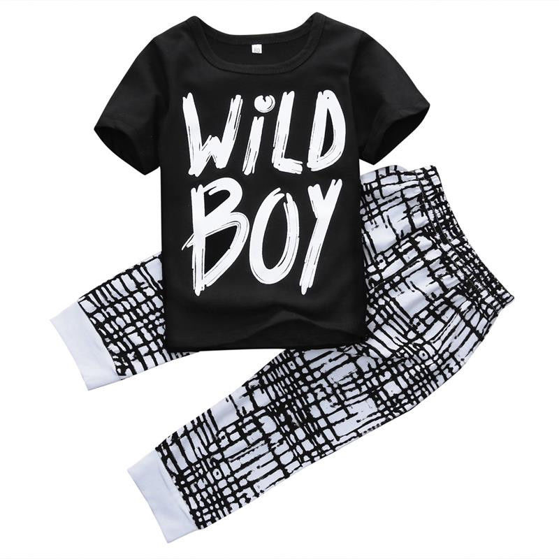 2pcs Casual Toddler Kids Baby Boy Autumn winter Clothes Letter Long Sleeve T shirt font b