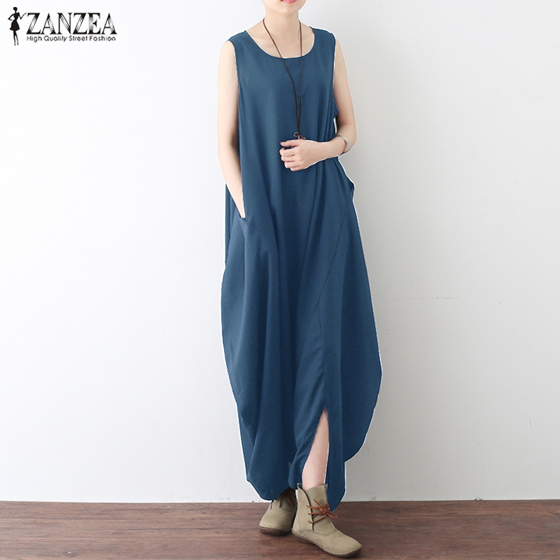 Women Jumpsuit ZANZEA 2018 Summer Rompers Casual Sleeveless Pockets Baggy Long Jumpsuits Drop Crotch Overalls Plus Size Pants 1