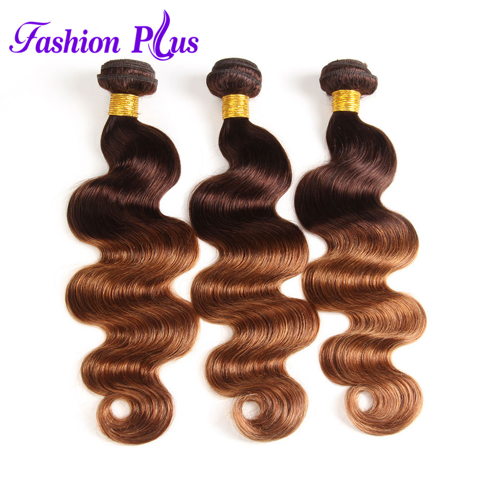 FashionPlus Ombre Brazilian Hair Body Wave #T4/30 12-26'' Human Hair Bundles 3PCS Brazilian Hair Weave Bundles Tissage Bresilien