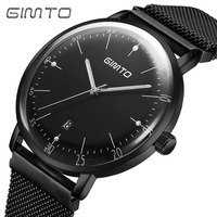GIMTO Top Brand Men Watch Ultra Thin Steel Business Male Quartz Watches Luminous Waterproof Clock Military