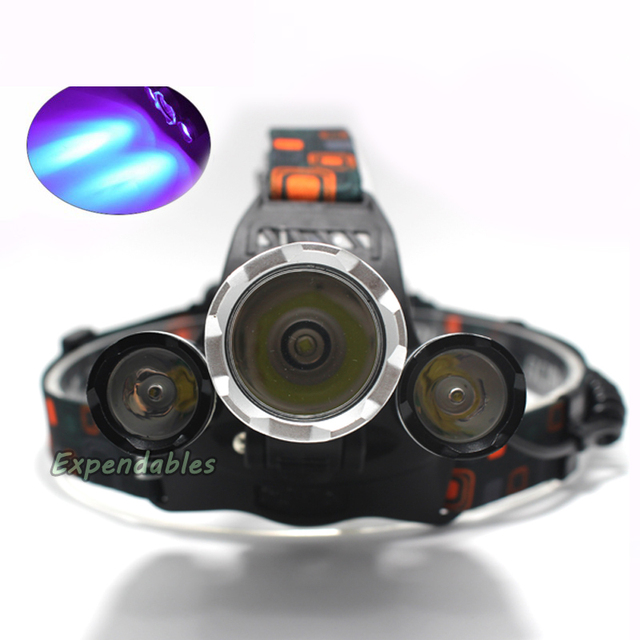 Super Bright Ultraviolet 5000 Lumen T6+2R5 UV LED Headlight Headlamp 3Mode Hunting Flashlight for camping
