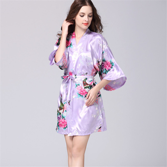 683faa5abb New Floral Robes Women Wedding Bridal Kimono Robe Flower Silk Lady Spa Night  Dress 12 colors