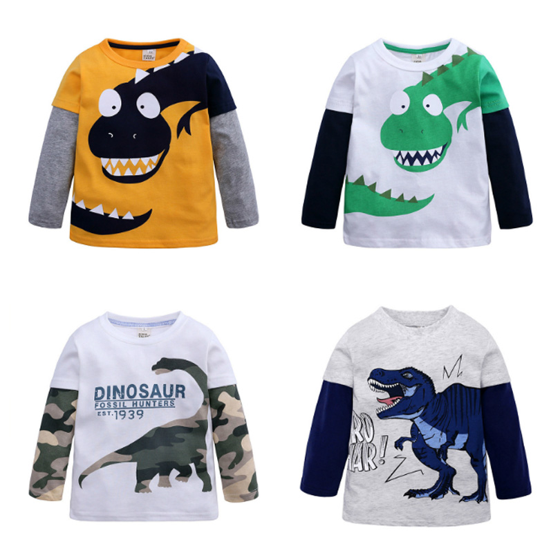 Fall Spring Kids 2-10Y Boys T-shirt Kids Tees Baby Boy Base T Shirts Blouse Children Long Sleeve T Shirt 100% Cotton Top&Tee