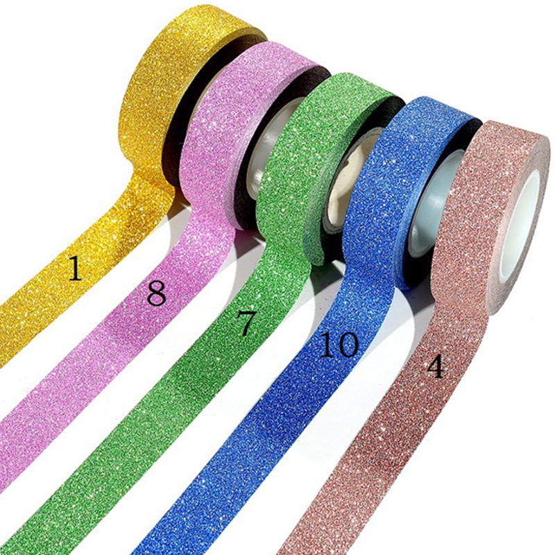 16 Colors Hot Sales 10m Glitter Washi Sticky Paper Masking Adhesive Tape Label Craft Decorative Diy