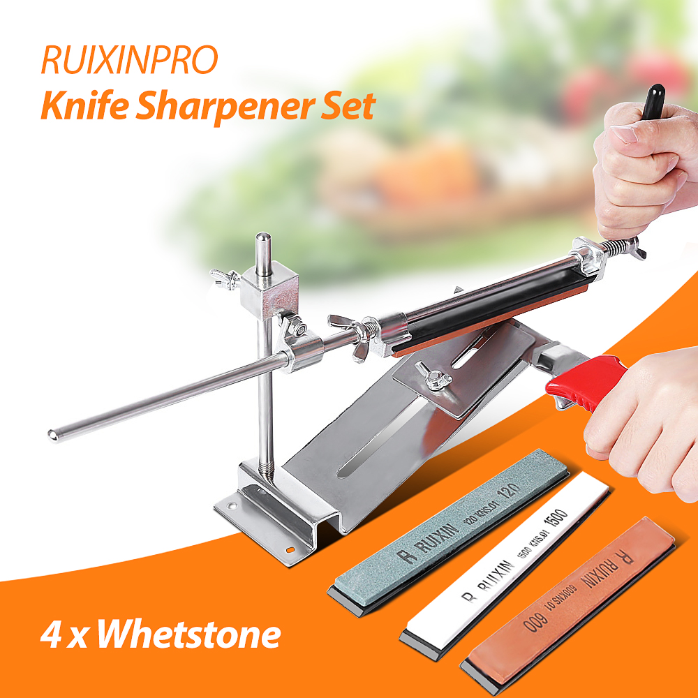 Afilador de cuchillos Ruixin Pro III todo hierro acero profesional Chef cuchillo afilador de cocina Sistema de afilado Fix-angle 4 Whetston