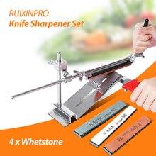 Ruixin Pro III Todo el Hierro de Acero Afilador de cuchillos Chef Profesional Cuchillo de Cocina Afilador Sistema Afilador Fix-ángulo 4 Whetston