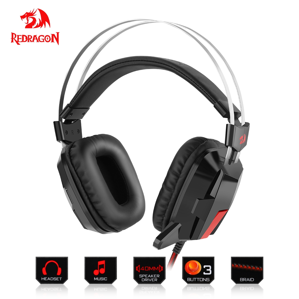 Redragon Gaming Headphones Headset Deep Bass Stereo wired gamer Breathing backlight Earphone Microphone for PC Laptop computer