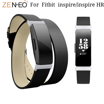 For Fitbit Inspire HR Leather watch straps Double Wristband For Fitbit Inspire Bracelet Watchband Smart Watchband Accessories фото