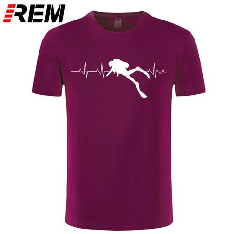 REM Scuba Dive Heart Beat Best Gift for Diver T-Shirts Summer Short Sleeves Soft Mens Tee Shirts Pure Cotton T Shirts Karachi