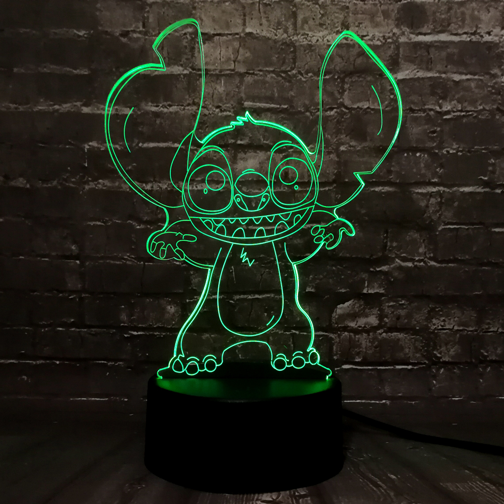 New 2019 Lilo Stitch 3D Night Light LED Lamp 7 Colors Change Room Baby Gift Infant Lava Lampara Christmas Decoration Character