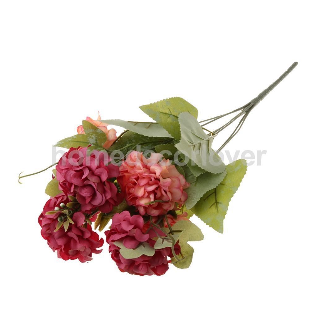 5 Bunches Artificial Chrysanthemum Ball Silk Flowers Bouquet For