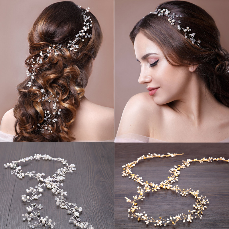TUANMING 1pcs 50-100cm Rhinestone Simulated Pearl Luxury Headbands Long Hair Chain Headpiece Tiara Wedding Bridal Accessories