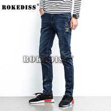 New Arrival Fashion Men's Jeans Water-washed Straight Pants Blue Ripped Jeans Men 2016 New Robin Men'S Skinny Denim Jeans C040