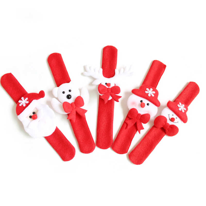 Santa Claus Snowman Deer New Year Party Toy 1PC Christmas Patting Circle Bracelet For Watch Xmas Children Gift