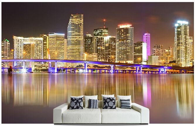 Custom photo wallpaper, Miami Skyline murals for the sitting room sofa bedroom TV wall waterproof vinyl which wallpaper custom photo wallpaper london skyline murals for the sitting room the bedroom tv sofa wall waterproof vinyl papel de parede