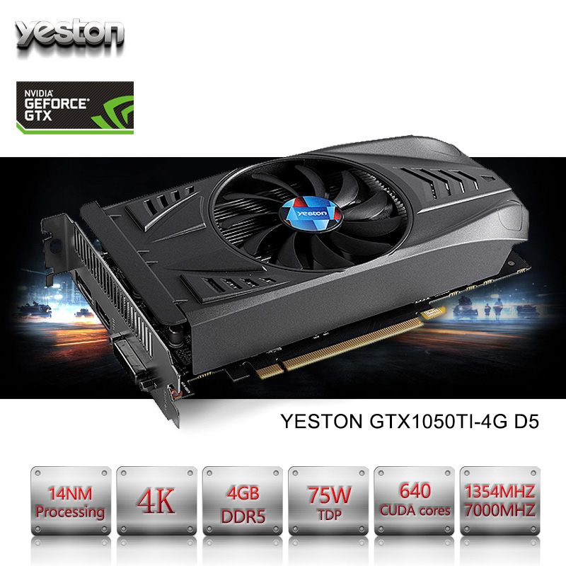 Yeston NVIDIA GeForce GTX 1050 Ti GPU 4GB GDDR5 128 Bit Gaming Desktop Computer PC Video