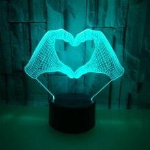 Датчик Светодиодный 3d-ночник знак любви с 7 цветами света для украшения дома лампа потрясающая визуализация Оптическая иллюзия