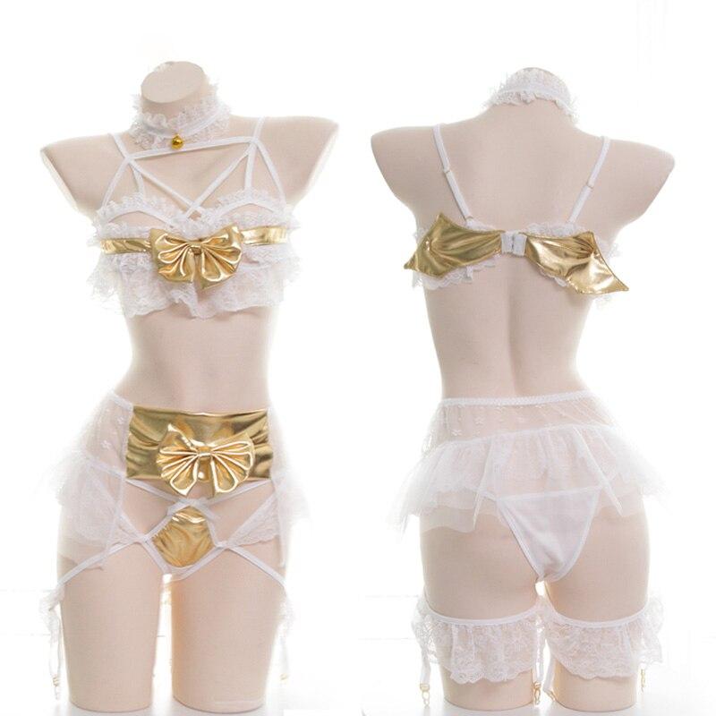 Women's Lingerie Set Lolita Girls Sexy Golden Little Devil Lace Voile Bowknot Intimates Set Cosplay Underwear Bra & Panties