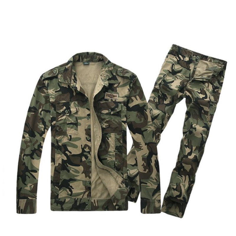 Spring and summer airborne division camouflage suit outdoor leisure multi bag pure cotton apricot military Costume airborne pollen allergy